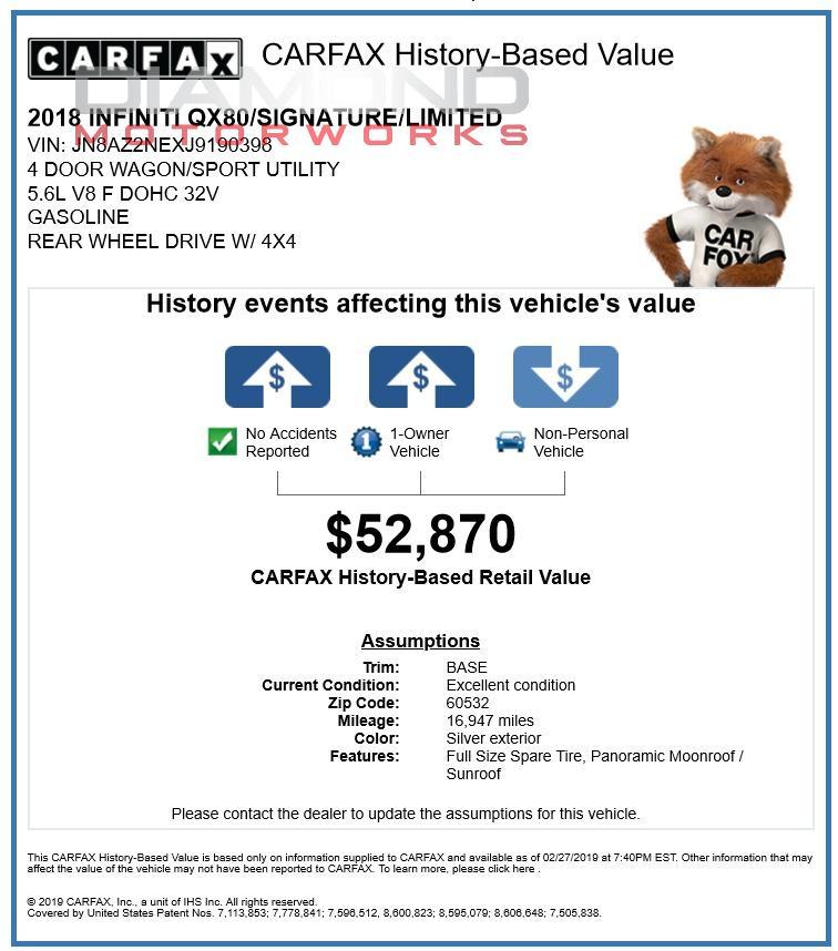 Infiniti Dealers In Illinois: 2018 INFINITI QX80 AWD Stock # 190398 For Sale Near Lisle